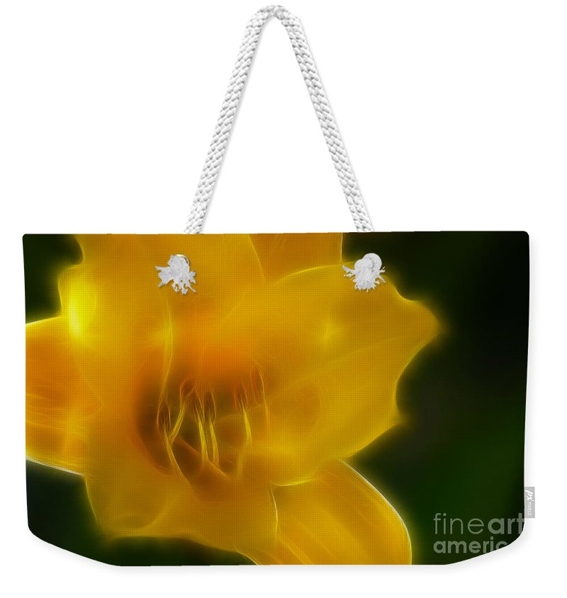 Flower Weekender Tote Bag featuring the photograph Yellow Lily 6069-fractal by Gary Gingrich Galleries