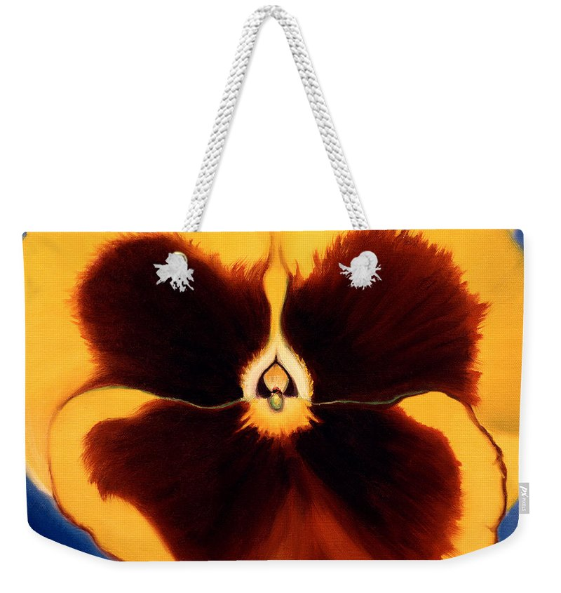 Pansy Weekender Tote Bag featuring the painting Yellow Pansy by Anni Adkins
