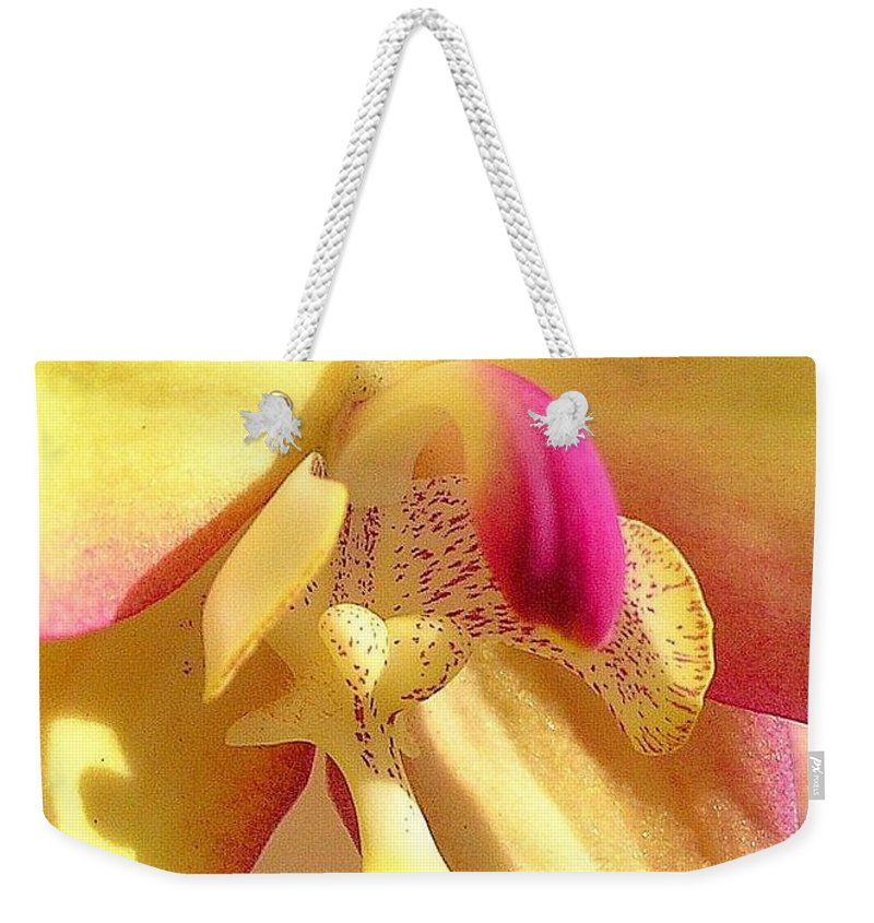 Yellow Weekender Tote Bag featuring the photograph Yellow Pink Orchid by Mary Deal