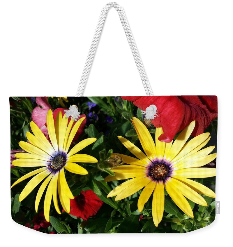 Yellow Weekender Tote Bag featuring the photograph Yellow Punch by Caryl J Bohn
