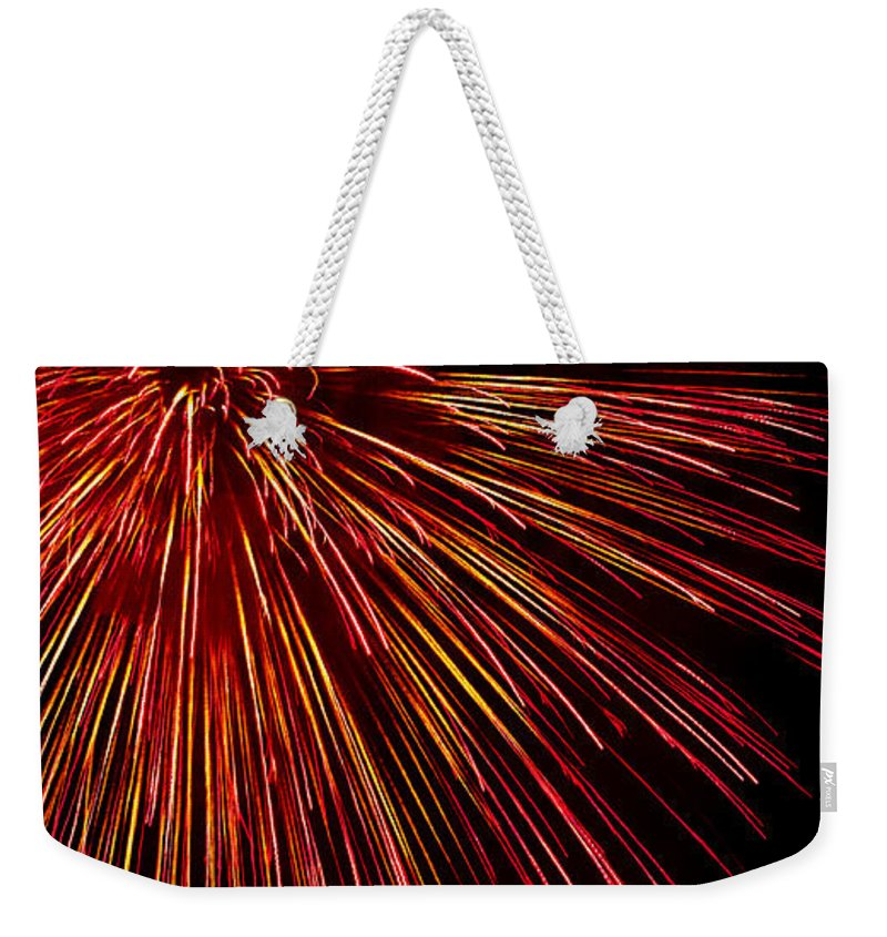 Fireworks Weekender Tote Bag featuring the photograph Yellow Red Firework Explosion by Weston Westmoreland