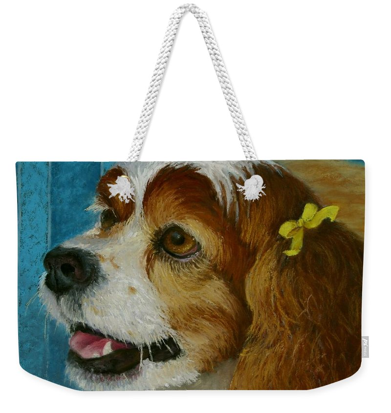 Dog Weekender Tote Bag featuring the painting Yellow Ribbons by Minaz Jantz