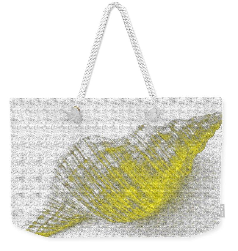 Yellow Weekender Tote Bag featuring the digital art Yellow Seashell by Carol Lynch