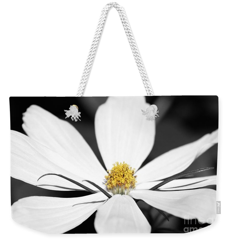 Yellow Weekender Tote Bag featuring the photograph Yellow Stamen by Wendy Wilton