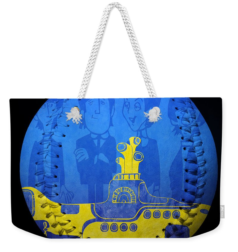Baseball Weekender Tote Bag featuring the photograph Yellow Submarine Baseball Square by Andee Design