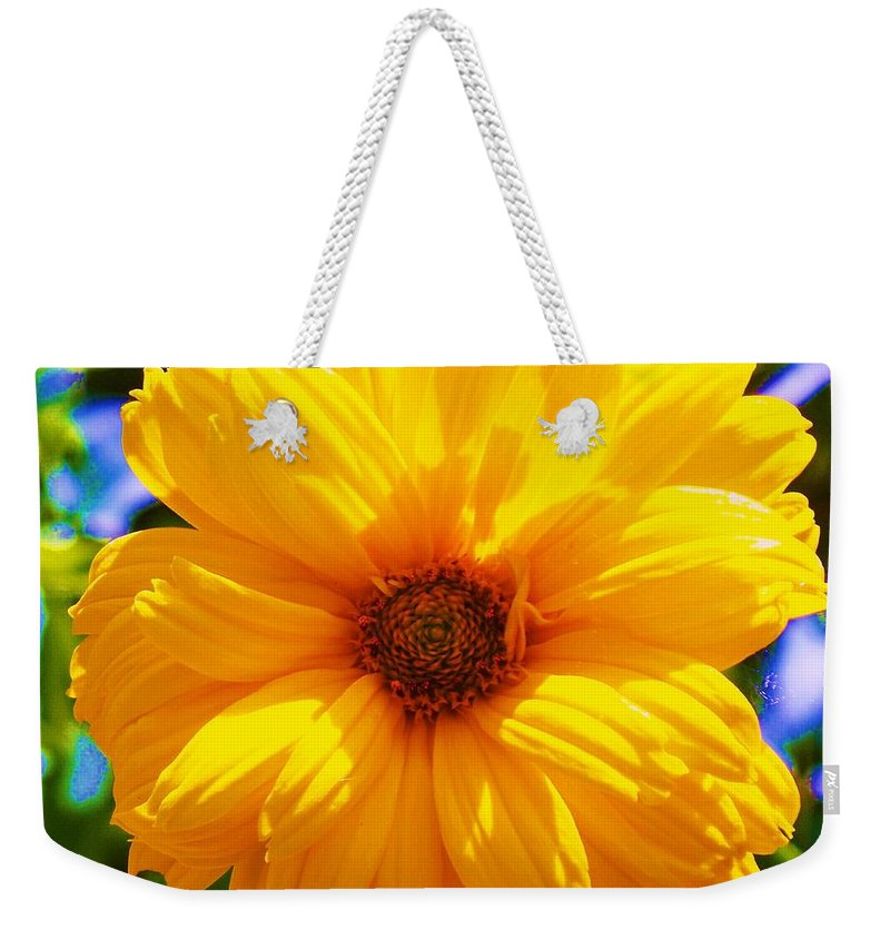 Flora Weekender Tote Bag featuring the photograph Yellow Sunflower by Eric Schiabor