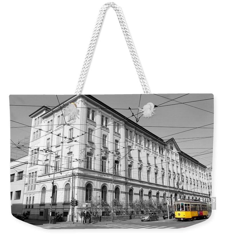 Yellow Weekender Tote Bag featuring the photograph Yellow Tram by Valentino Visentini