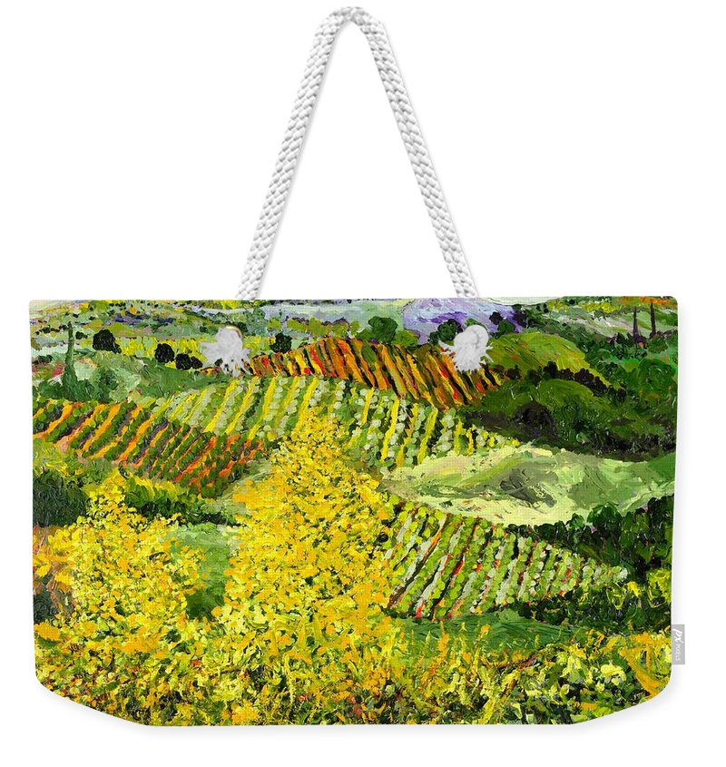 Landscape Weekender Tote Bag featuring the painting Yellow Trees by Allan P Friedlander