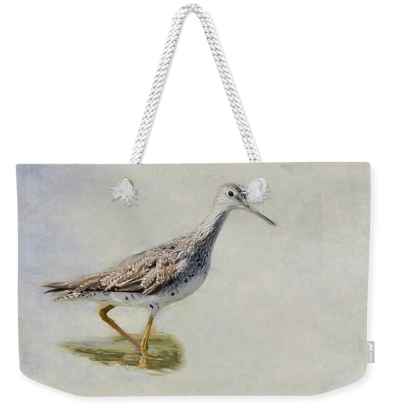Sandpiper Weekender Tote Bag featuring the photograph Yellowlegs by Bill Wakeley