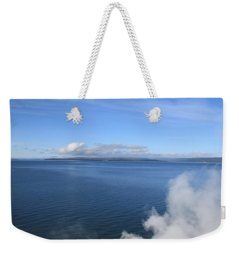 America Weekender Tote Bag featuring the photograph Yellowstone Lake And Geysers by Frank Romeo