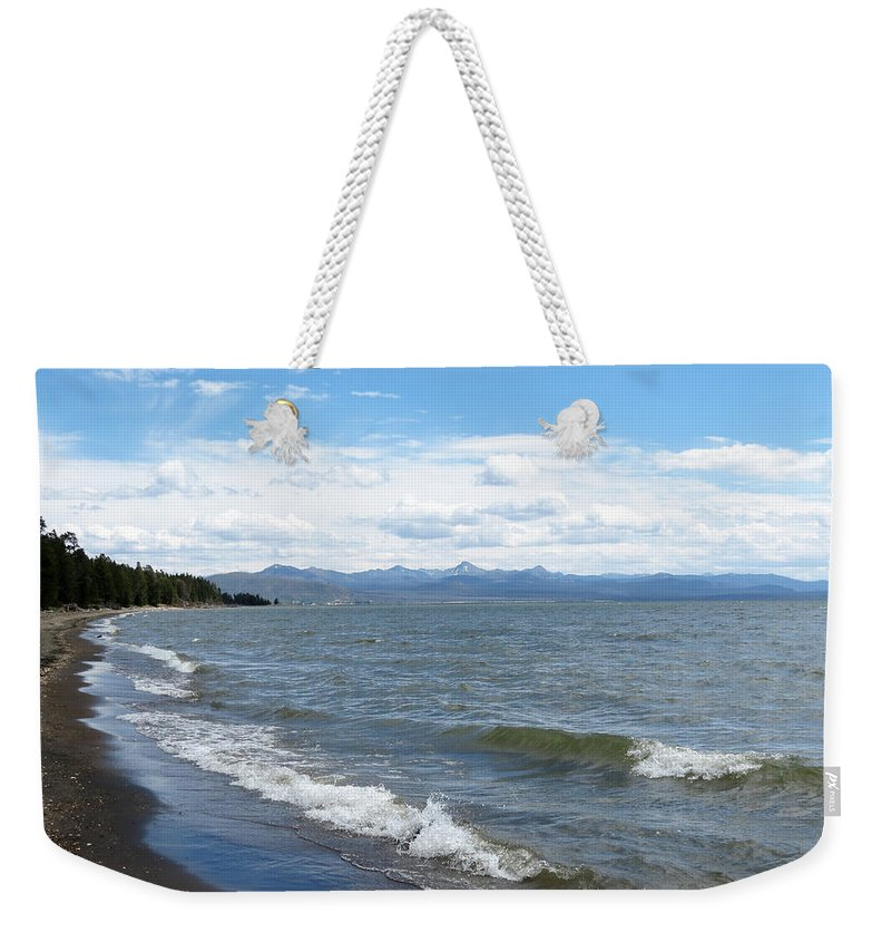 Yellowstone National Park Weekender Tote Bag featuring the photograph Yellowstone Lake by Laurel Powell