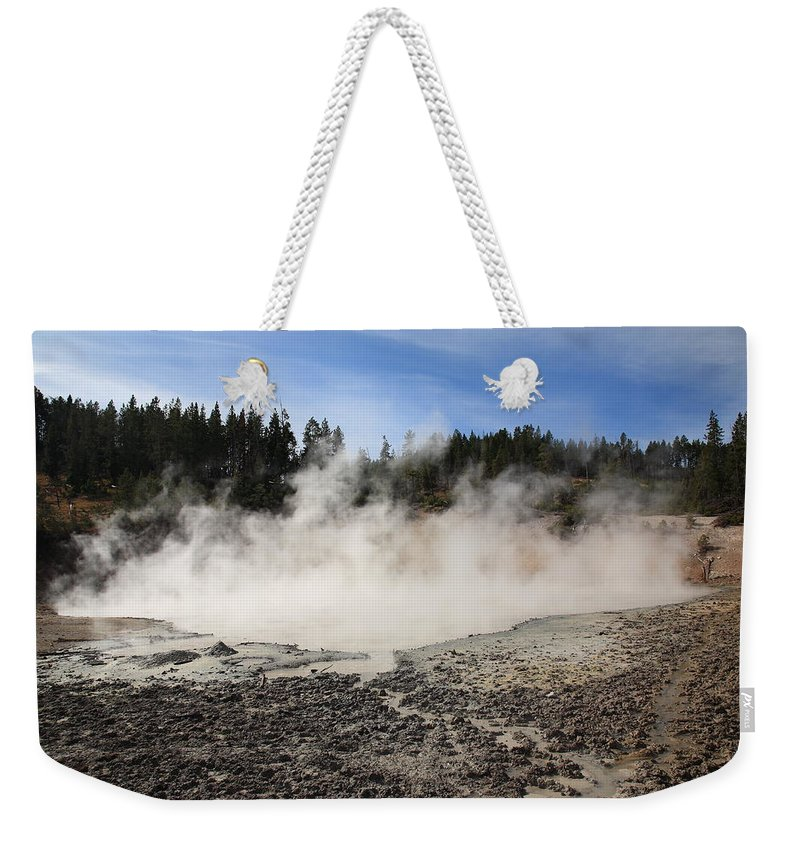 America Weekender Tote Bag featuring the photograph Yellowstone National Park - Mud Pots by Frank Romeo
