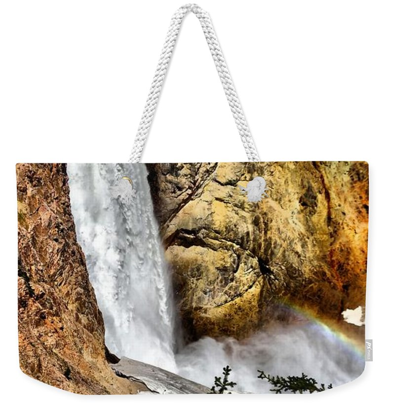 Waterfall Weekender Tote Bag featuring the photograph Yellowstone Lower Falls Rainbow by Dan Sproul