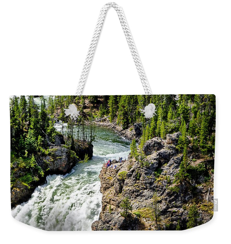 Yellowstone National Park Weekender Tote Bag featuring the photograph Yellowstone - Upper Falls by Jon Berghoff