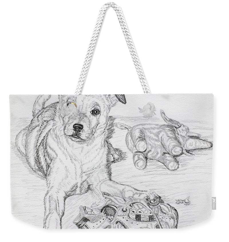 Animal Weekender Tote Bag featuring the drawing Yes This Is My Toy by Lana Tyler
