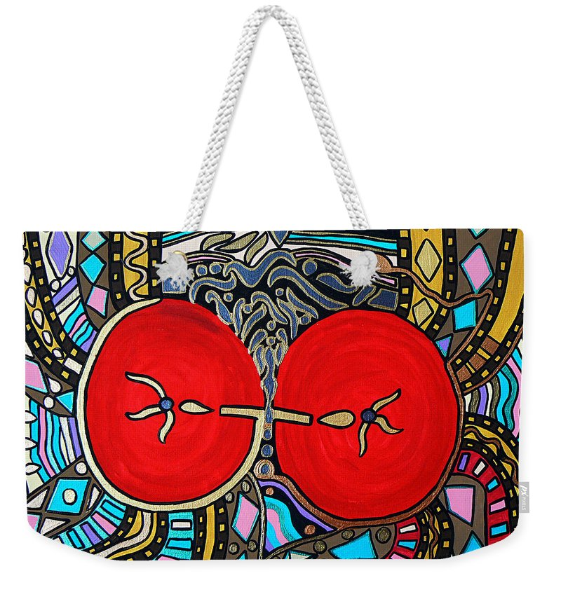 Metallic Weekender Tote Bag featuring the painting Yin Yang by Barbara St Jean