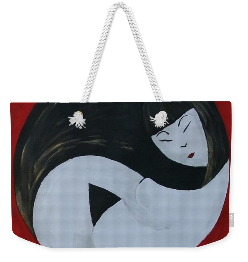 Maternity Weekender Tote Bag featuring the painting Yin Yang Maternity by Cris Motta