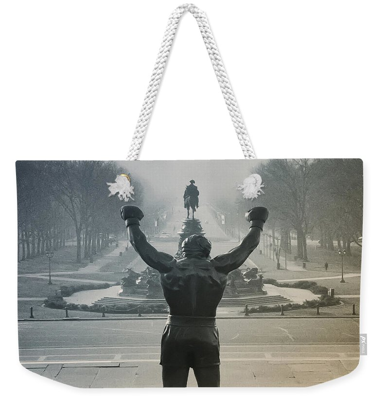 Rocky Weekender Tote Bag featuring the photograph Yo Adrian by Bill Cannon