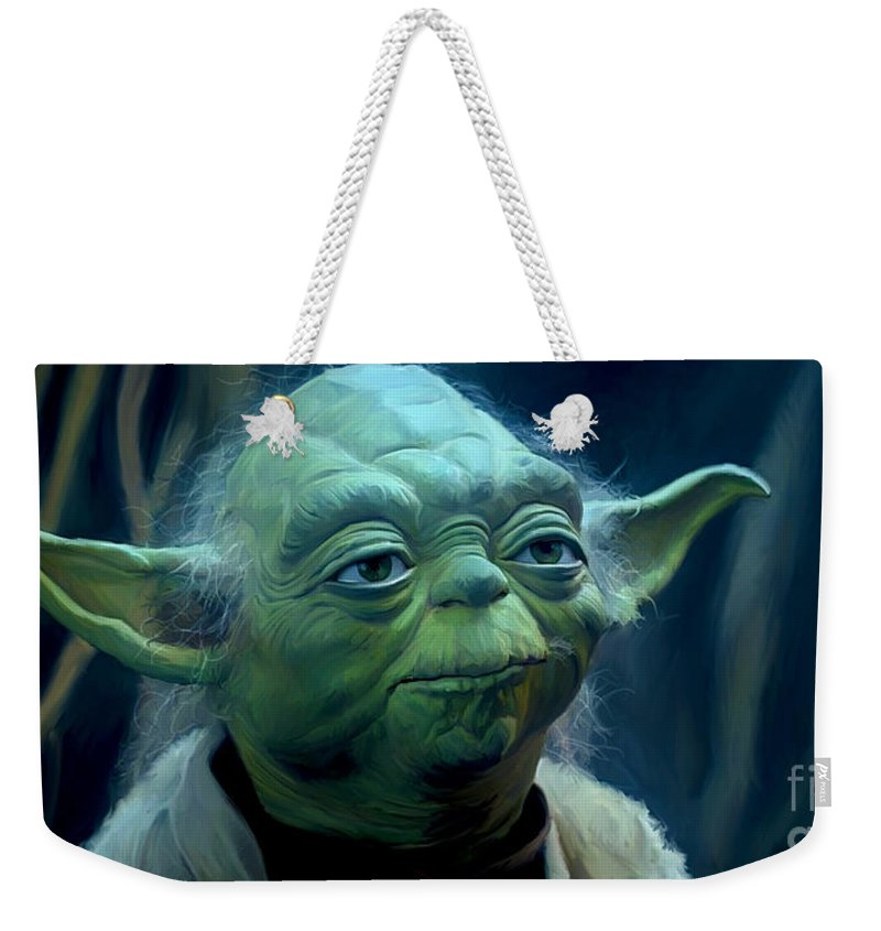 Star Wars Weekender Tote Bag featuring the painting Yoda by Paul Tagliamonte