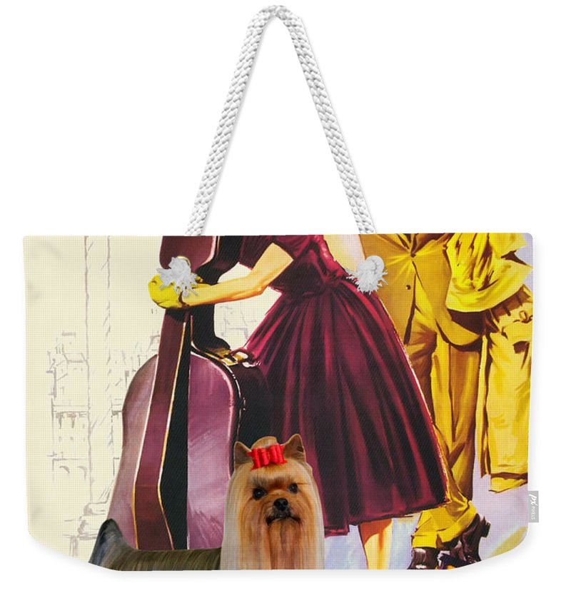 Yorkshire Terrier Weekender Tote Bag featuring the painting Yorkshire Terrier Art Canvas Print - Love In The Afternoon Movie Poster by Sandra Sij