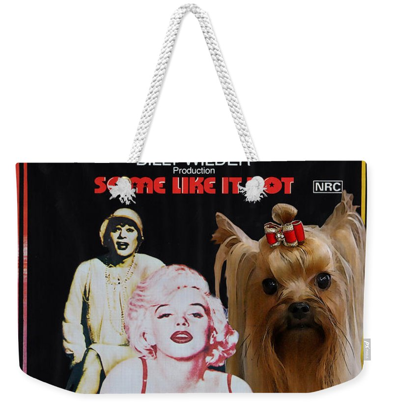 Yorkshire Terrier Weekender Tote Bag featuring the painting Yorkshire Terrier Art Canvas Print - Some Like It Hot Movie Poster by Sandra Sij