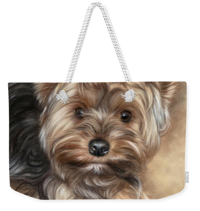 Yorkshire Terrier Weekender Tote Bag featuring the pastel Yorkshire Terrier by Tobiasz Stefaniak