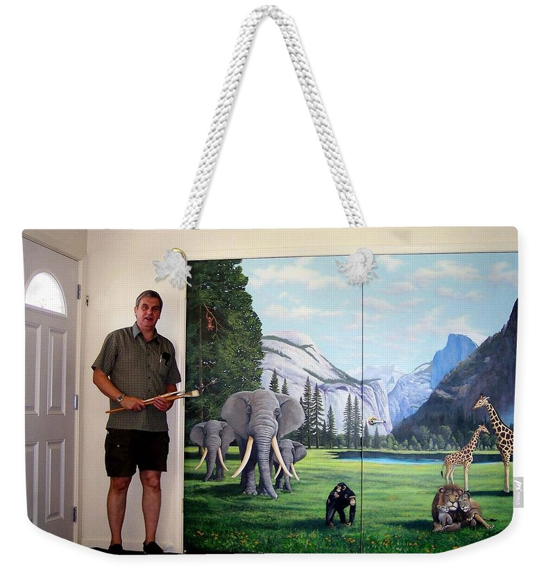 Mural Weekender Tote Bag featuring the painting Yosemite Dreams Mural On Doors by Frank Wilson