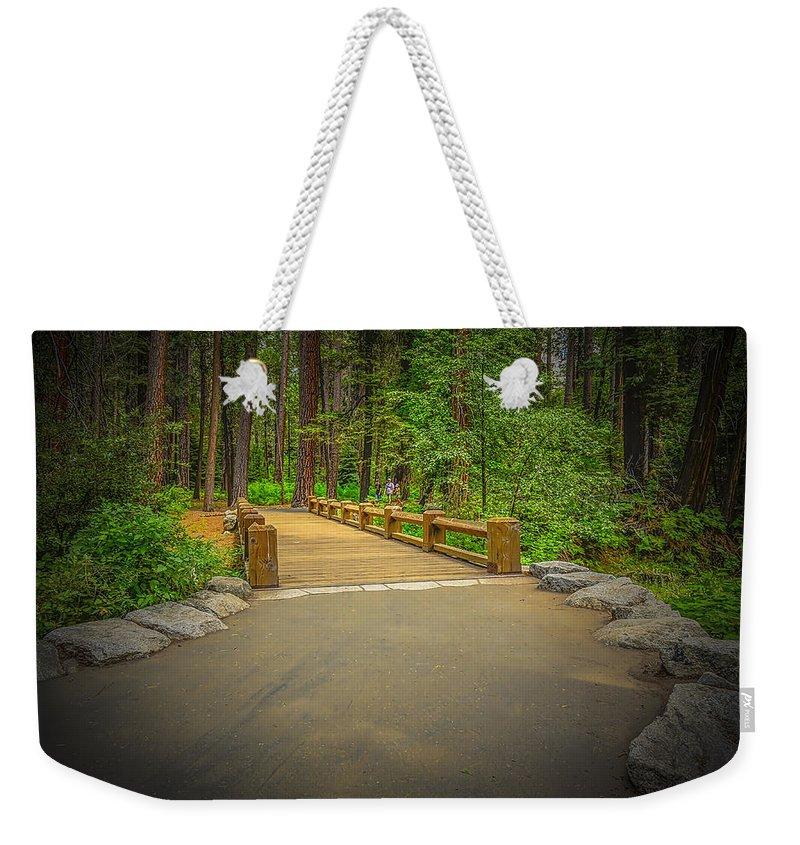 Yosemite Weekender Tote Bag featuring the photograph Yosemite Falls Trail by LeeAnn McLaneGoetz McLaneGoetzStudioLLCcom