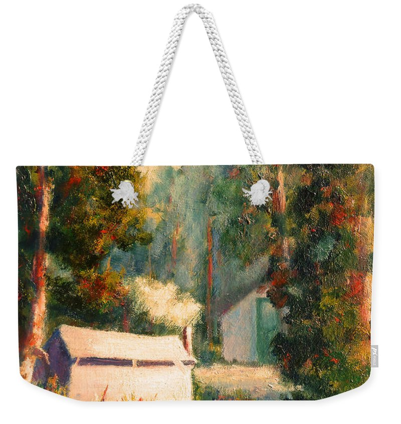 Yosemite Tent Cabins Weekender Tote Bag featuring the painting Yosemite Tent Cabins by Carolyn Jarvis