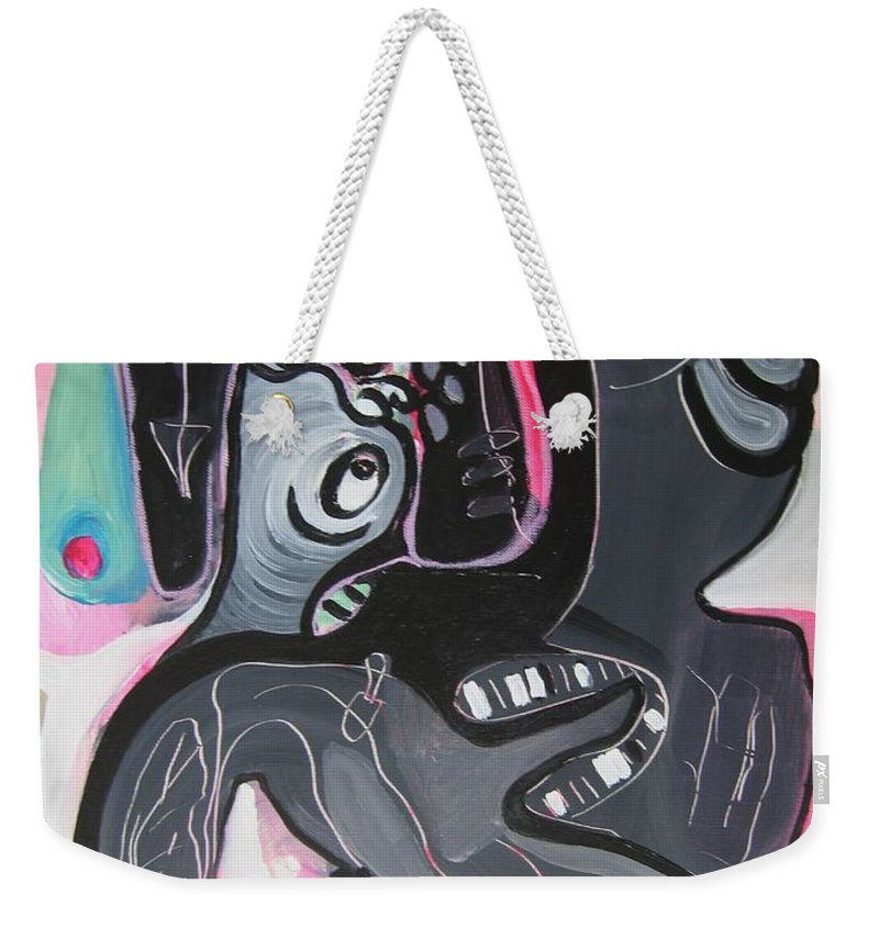 Couple Paintings Weekender Tote Bag featuring the painting You And I Are by Seon-Jeong Kim