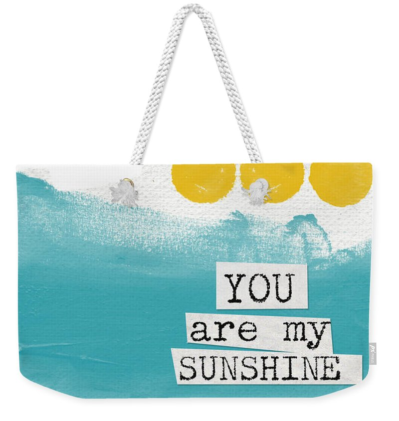 Love Weekender Tote Bag featuring the painting You Are My Sunshine- abstract mod art by Linda Woods