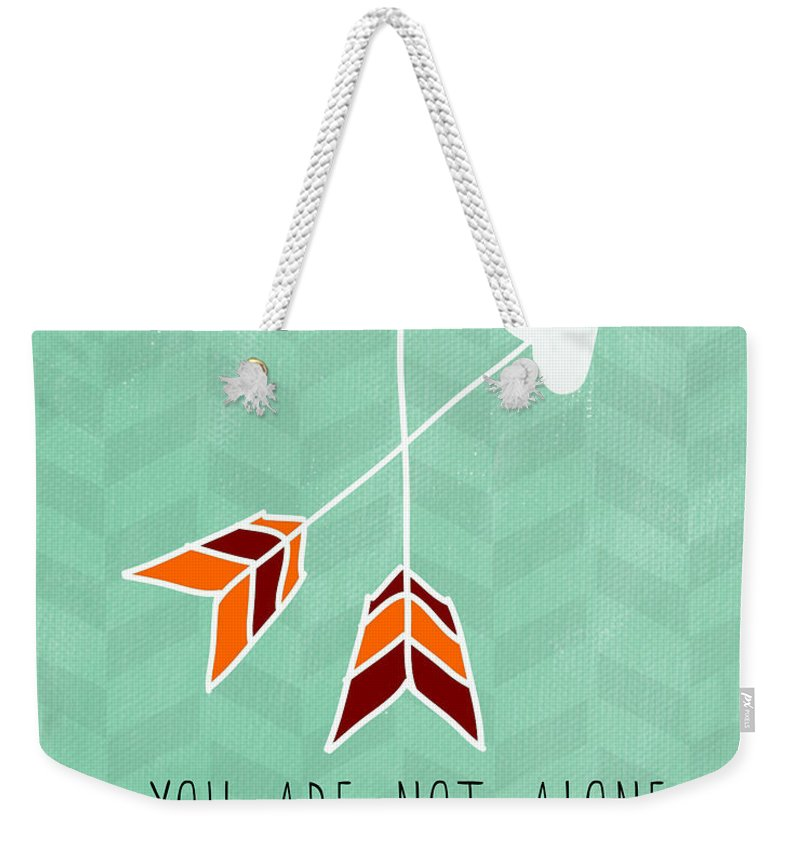 Heart Weekender Tote Bag featuring the painting You Are Not Alone by Linda Woods