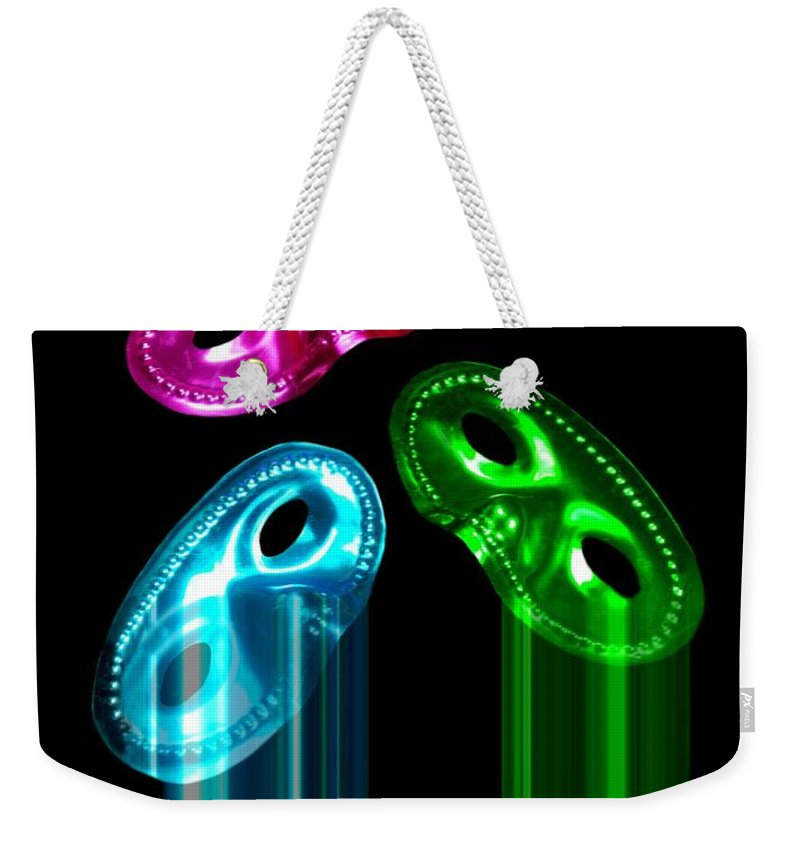 Masks Weekender Tote Bag featuring the photograph You Can't Hide by Diana Angstadt