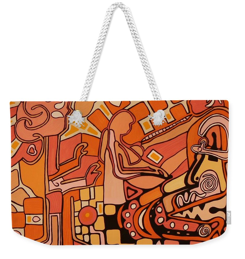 Acrylic Weekender Tote Bag featuring the painting You Me And The Machine by Barbara St Jean