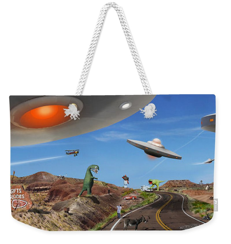 Surrealism Weekender Tote Bag featuring the photograph You Never Know . . . Panoramic by Mike McGlothlen