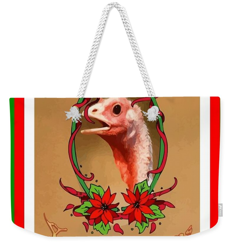 Christmas Weekender Tote Bag featuring the digital art You Only Love Us For Our Breasts Christmas Card by Taiche Acrylic Art