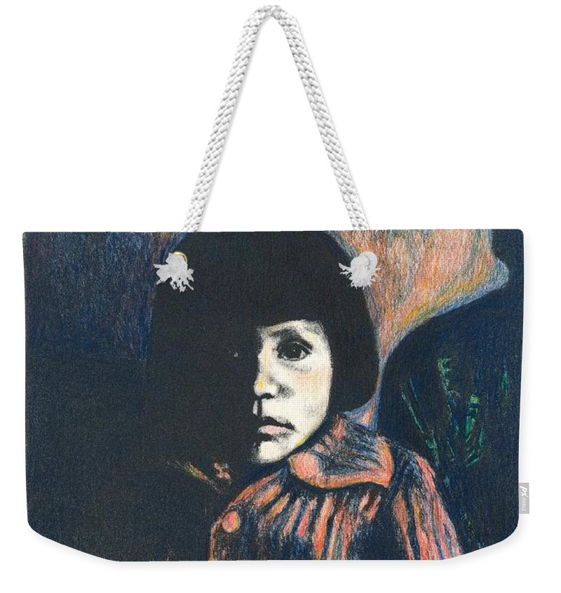 Girl Weekender Tote Bag featuring the drawing Young Girl by Kendall Kessler