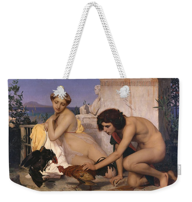 Young Greeks Attending A Cock Fight Weekender Tote Bag featuring the digital art Young Greeks Attending A Cock Fight by Jean Leon Gerome