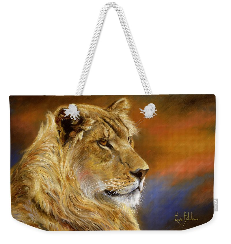 Lion Weekender Tote Bag featuring the painting Young Lion by Lucie Bilodeau