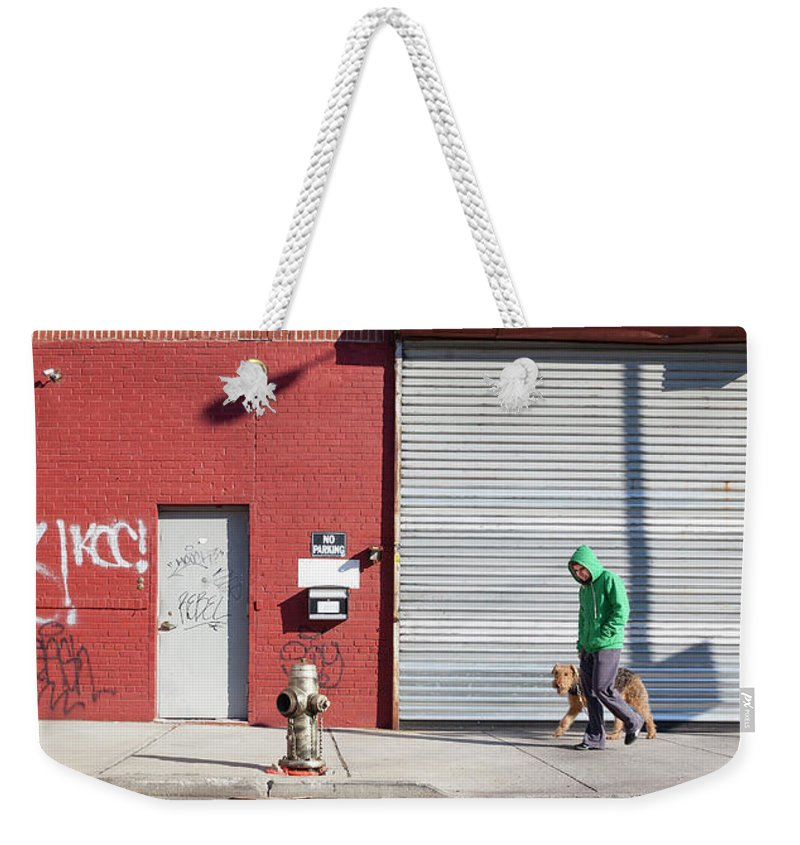 Pets Weekender Tote Bag featuring the photograph Young Man Walks Dog by Alex Potemkin