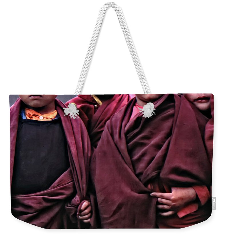 Buddhism Weekender Tote Bag featuring the photograph Young Monks II by Steve Harrington