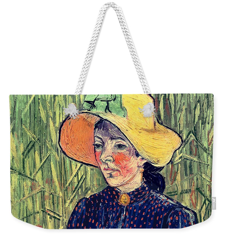 Poppy; Background; Apron; Brooch; Cameo; Portrait; Post-impressionist; Post-impressionism Weekender Tote Bag featuring the painting Young Peasant Girl In A Straw Hat Sitting In Front Of A Wheatfield by Vincent van Gogh
