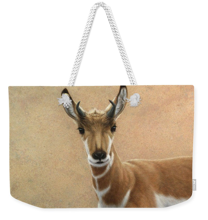 Cute Weekender Tote Bag featuring the painting Young Pronghorn by James W Johnson