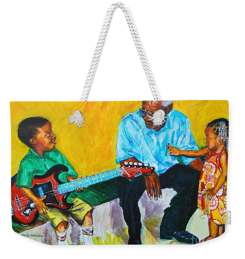 Grandpa's Love Weekender Tote Bag featuring the painting Your Attention Plez by Charles M Williams