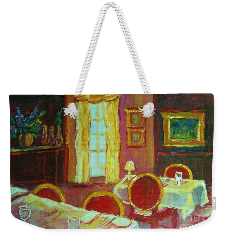 Interior Weekender Tote Bag featuring the painting Your Table Awaits by Carole Spandau