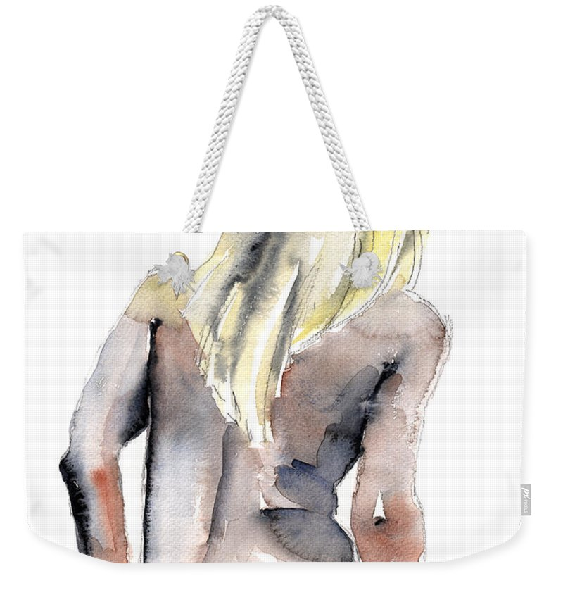 Erotic Weekender Tote Bag featuring the painting Yours Alone - By Lesley Silver by John Silver