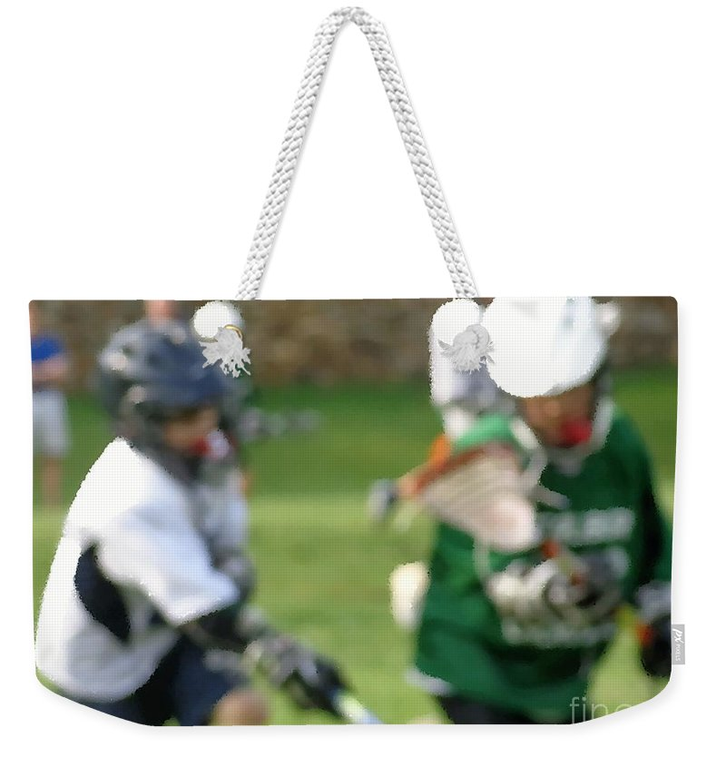 Lacrosse Weekender Tote Bag featuring the painting Youth Lacrosse by Jannice Walker
