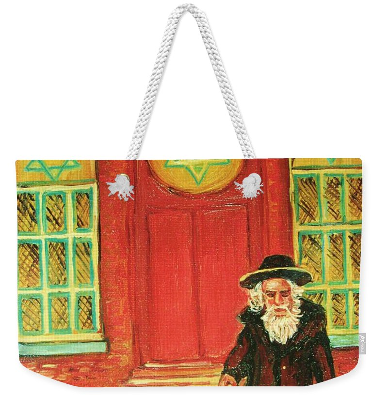 Synagogues Weekender Tote Bag featuring the painting Zaida's Shul by Carole Spandau