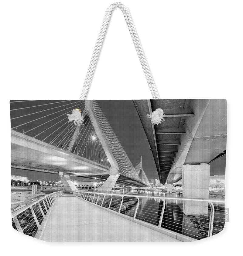 Boston Weekender Tote Bag featuring the photograph Zakim Bridge Twilight In Boston Bw by Susan Candelario