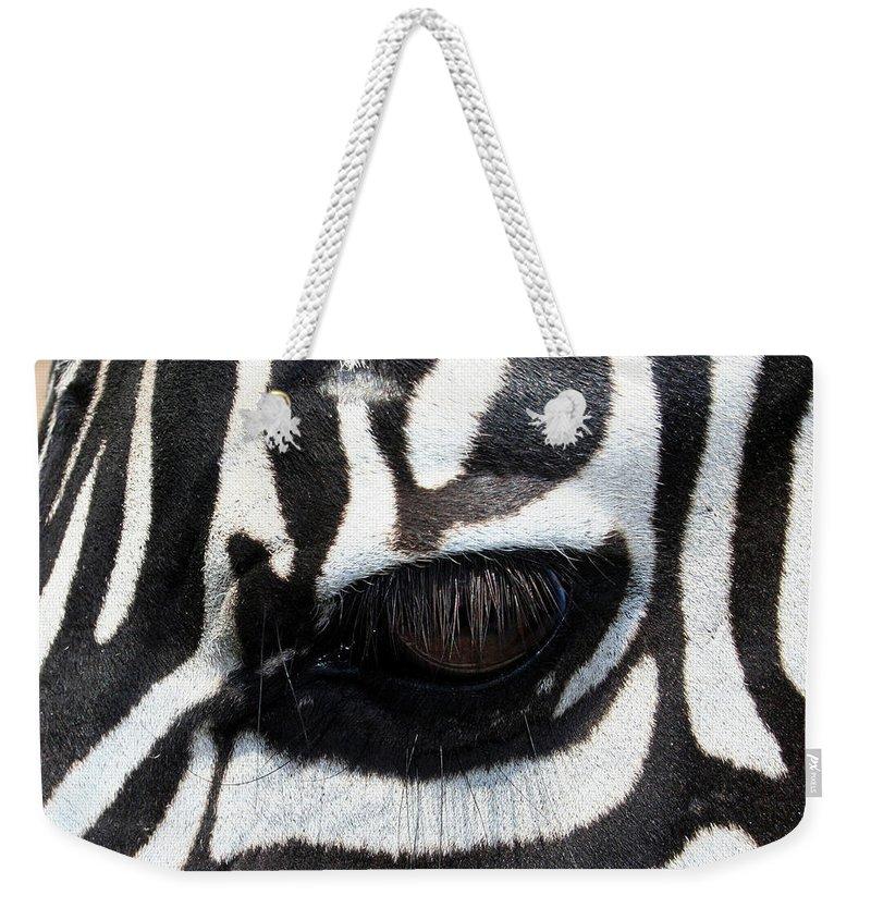 Zebra Weekender Tote Bag featuring the photograph Zebra Eye by Linda Sannuti